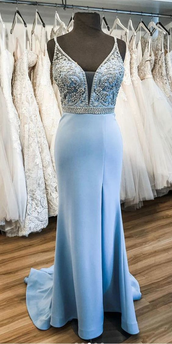 Charming Light Blue Mermaid Prom Dress with Beads, Formal Evening Gown