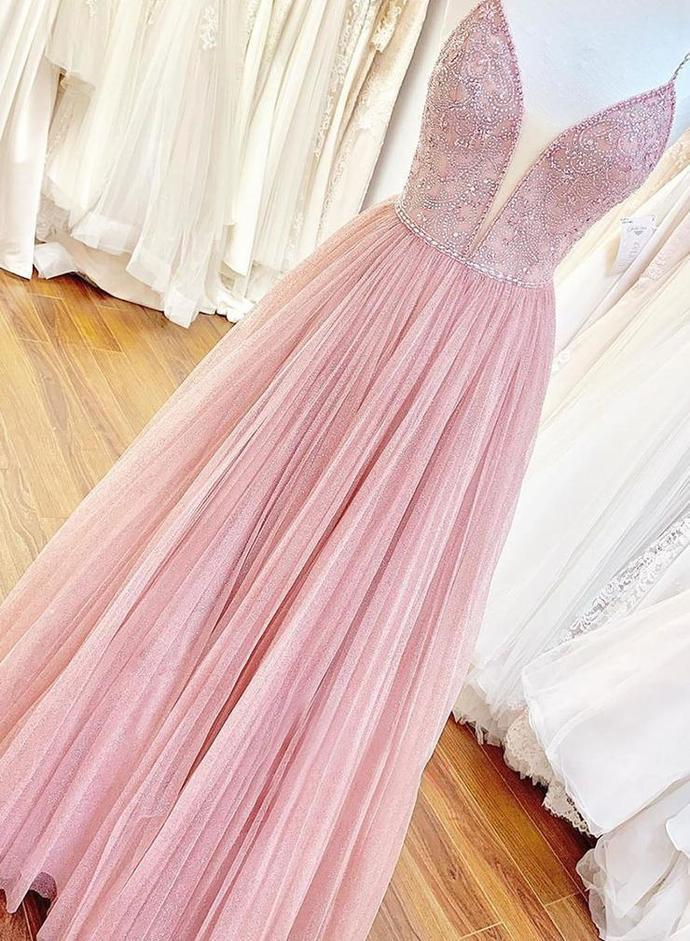 Sexy V neck Tulle Pink Long Prom Dress with Straps, Floor Length Beaded Evening