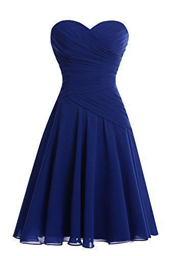 Cute Dark Blue Short Party Dress, Sweetheart neck Chiffon Homecoming Dress