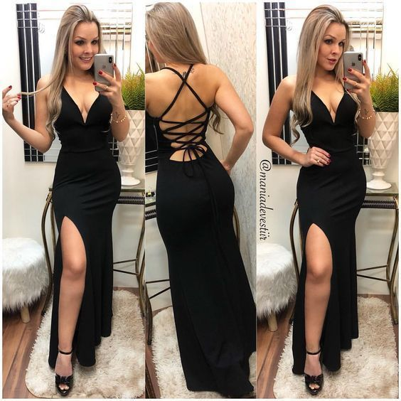 Sex Black Open Back Mermaid Prom Dress with Slit, Evening Party Gown