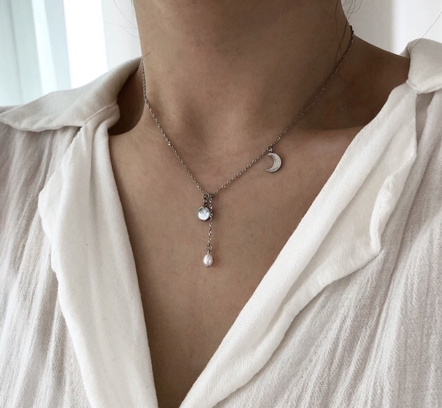 Moon, Fresh water pearl, Nacre Pendant Necklace-Layered necklace -Gift for her.