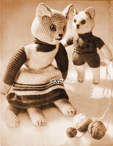 PDF Digital Download Vintage Knitting Pattern 15'' Cat 8'' Kitten Stuffed Plush
