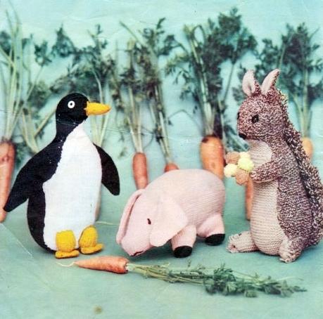 Instant PDF Digital Download Vintage Knitting Pattern Squirrel Penguin & Pig