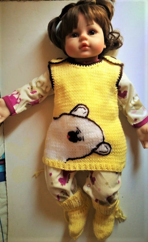 Knitted set for  newborns     vest and socks.Free shipping