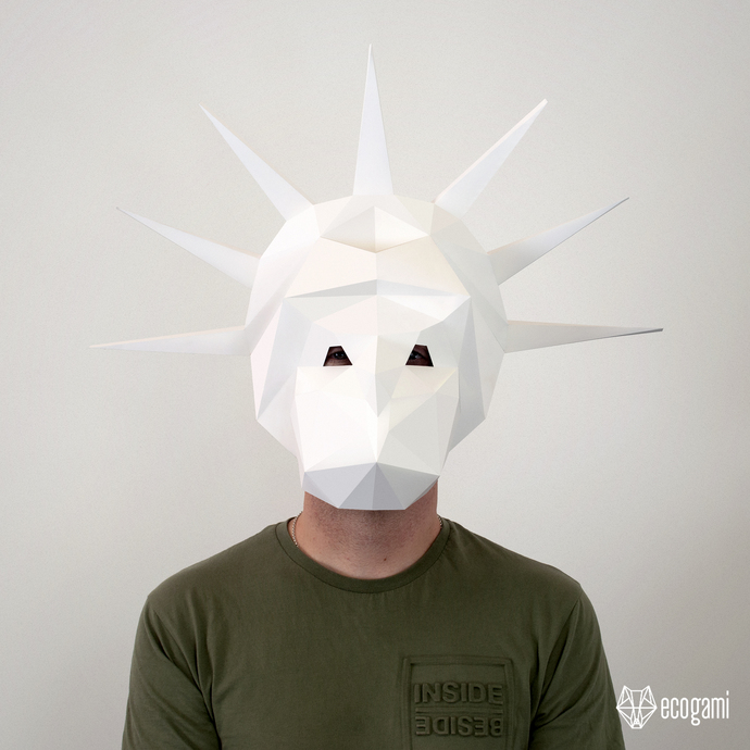 Printable papercraft statue of Liberty mask, perfect for your Halloween costume