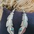 Native American Signed BL Sterling Silver Turquoise Feather Earrings