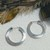 Vintage Mexican Artisan Large Sterling Silver Straight Edge Hoops