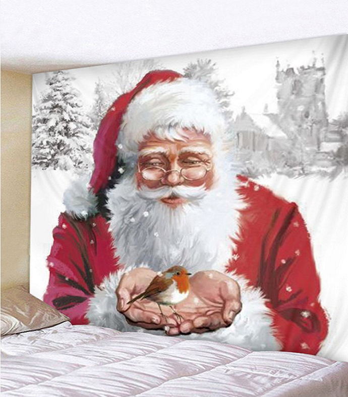 Fabric Wall Hanging/Throw Santa Claus and Little Red Robin Free Shipping
