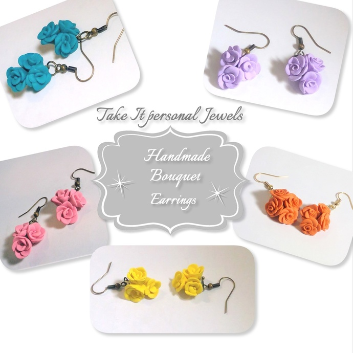 Bouquet Earrings Polymer Clay teal yellow purple orange pink Hypoallergenic