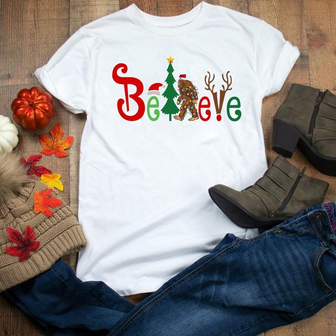 Believe, bigfoot, bigfoot design, bigfoot christmas, Winter, Christmas,