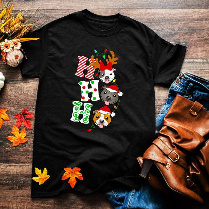 Ho ho ho, pitbull, pitbull lover, pitbull design, pitbull lover shirt, Winter,
