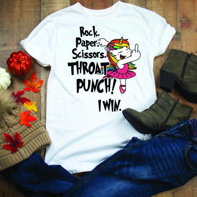Rock scissor, paper, throat punch, unicorn, unicorn svg, funny unicorn, rock