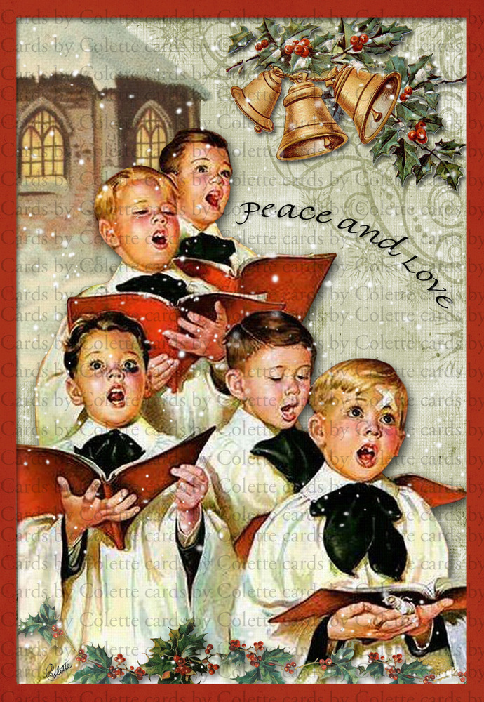 Christmas Peace and Love Digital Collage Greeting Card2488