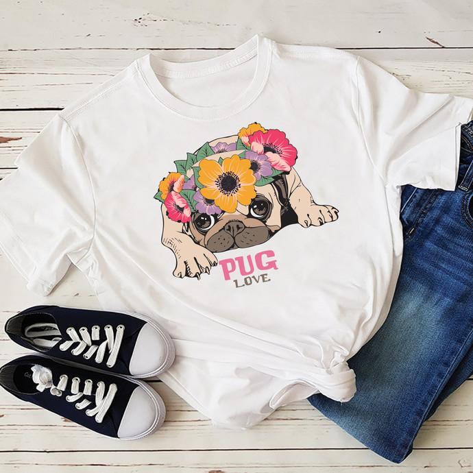Pug love, wreath pug, flowers, pug love svg, pug, pug lover, pug gift, pug dog,