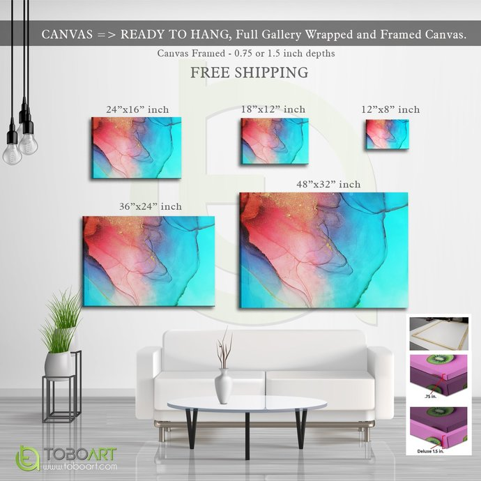 FREE SHIPPING - Alcohol Ink Canvas, Colorful Effect Art CV02 Landscape Canvas