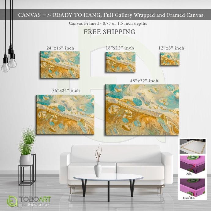 FREE SHIPPING - Golden Art, Beautiful Blue Abstract CV16 Landscape Canvas .75in