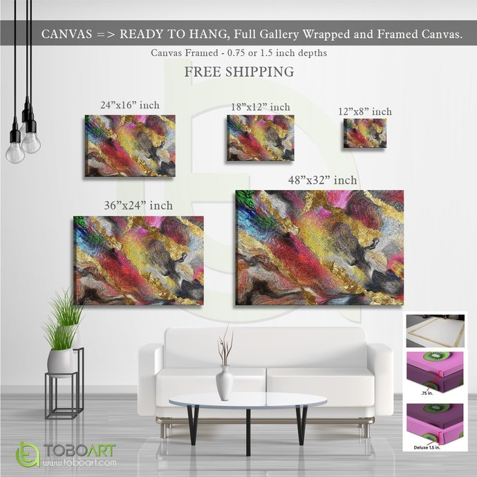 FREE SHIPPING - Marbling Wall Decor, Contemporary Art CV46 Landscape Canvas