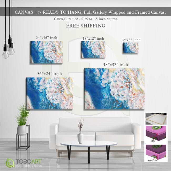 FREE SHIPPING - Marble Wall Art, Beautiful Abstract Art CV07 Landscape Canvas