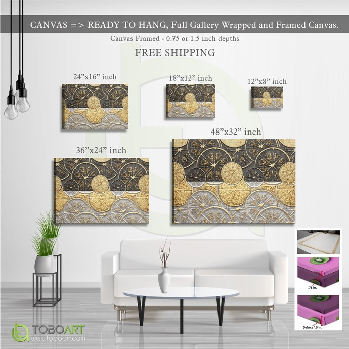 FREE SHIPPING - Modern Nordic Gold Foil, Porch Wall Art CV27 Landscape Canvas