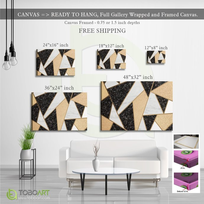 FREE SHIPPING - Mosaic Marble, Marble Wall Art Canvas CV28 Landscape Canvas