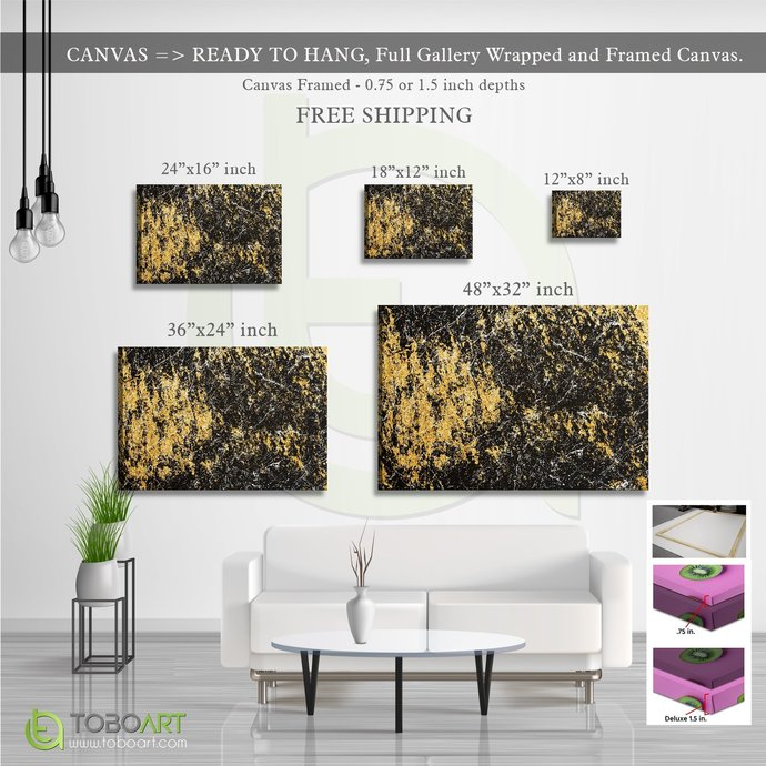FREE SHIPPING - Yellow Marble Canvas Wall Art CV43 Landscape Canvas .75in Frame