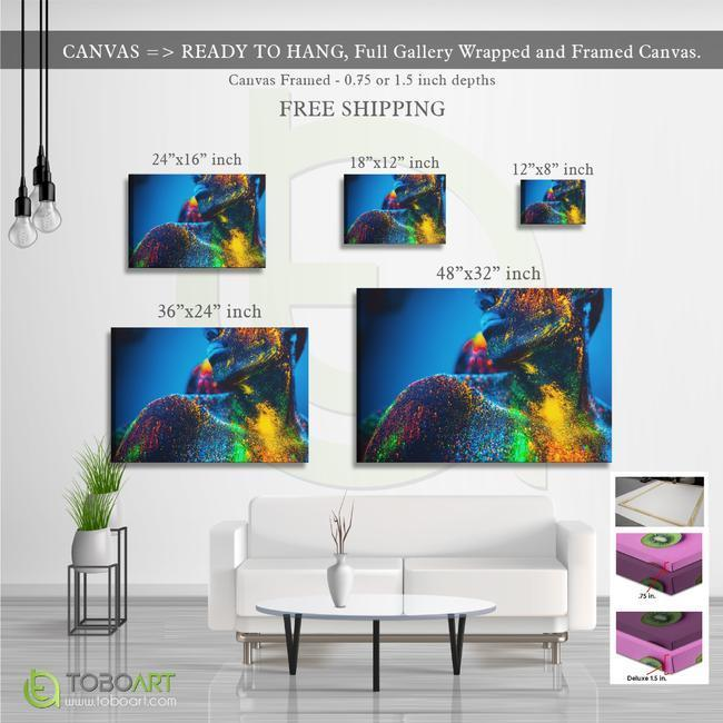 FREE SHIPPING - Painted Body Art, Colorful Canvas Wall Art CV32 Landscape Canvas