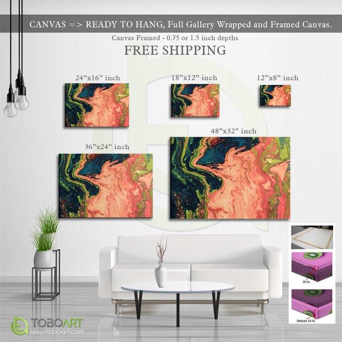 FREE SHIPPING - Marble Canvas Wall Art Decor Canvas .75 inch Framed CV10