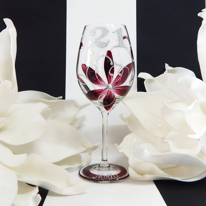 21st Birthday Wine Glass | Personalised Gifts