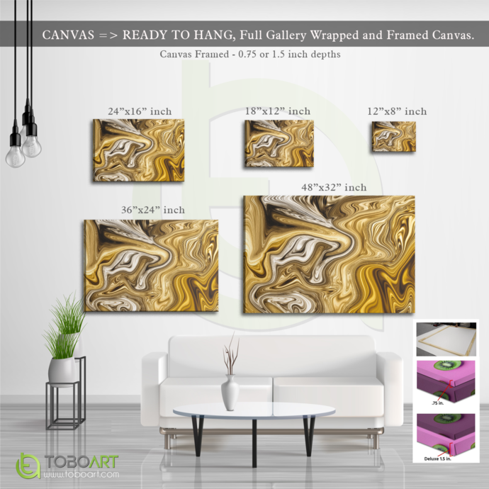 FREE SHIPPING - Gold Marble Canvas, Wall Art Canvas .75 inch Framed, Large