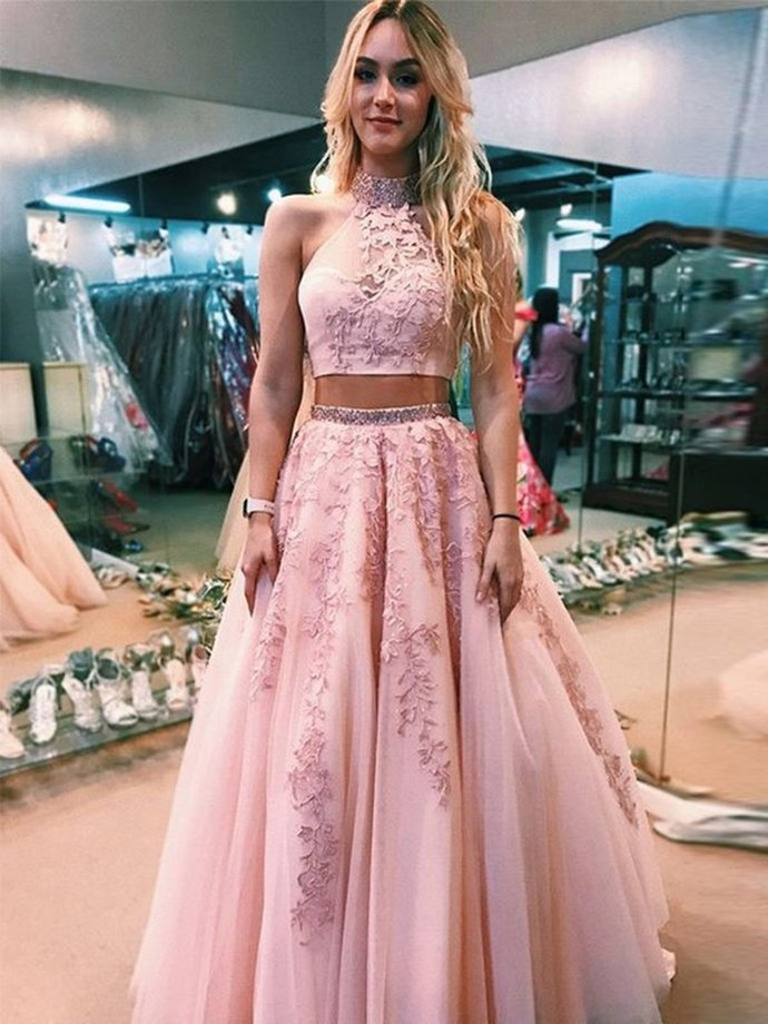 High Neck Two Pieces Lace Appliques Pink Prom Dresses,Long Formal