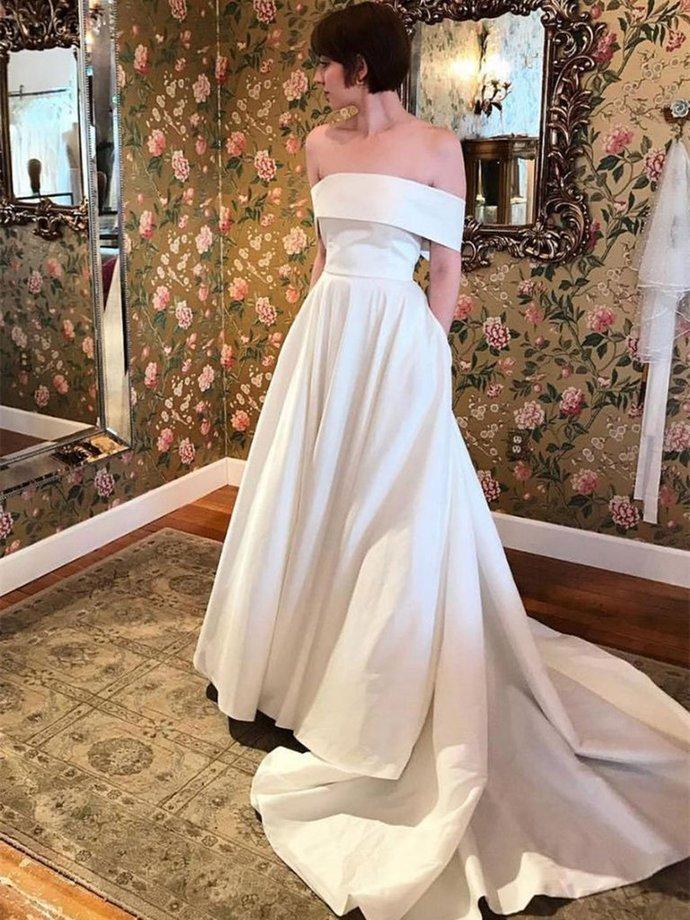 Simple Off Shoulder White Wedding Dresses,White Formal Dresses,Evening Dresses,