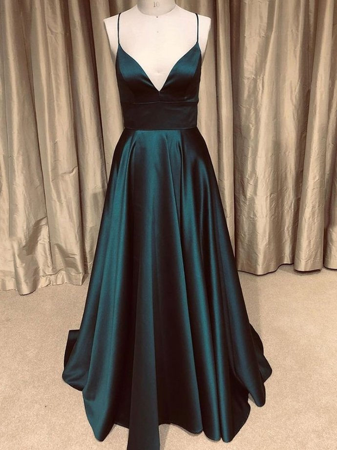 Black A Line V Neck Backless Long Prom Dresses, Cross Back V Neck Formal