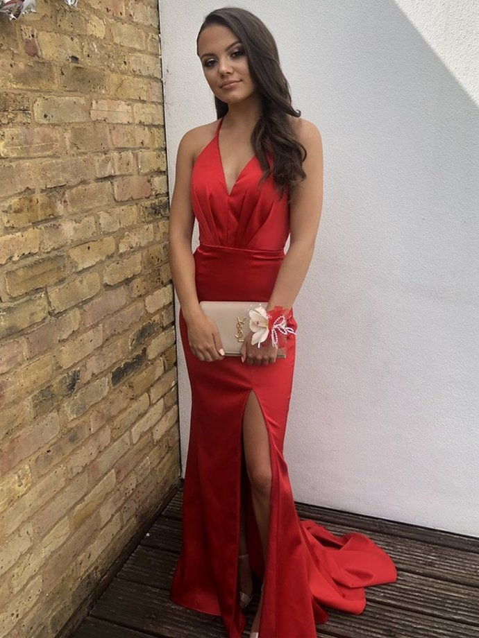 Sexy Red V Neck Backless Mermaid Prom Dresses with Slit,Halter Neck Red Long
