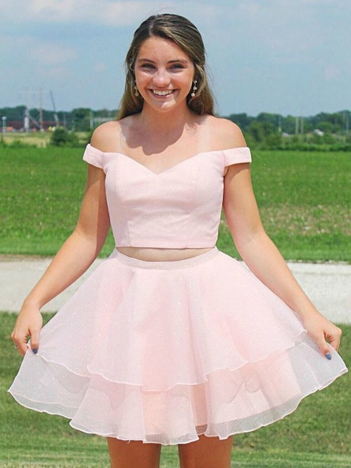 Two Pieces Off the Shoulder Pink Short Prom Dresses,Cute Homecoming Dresses with