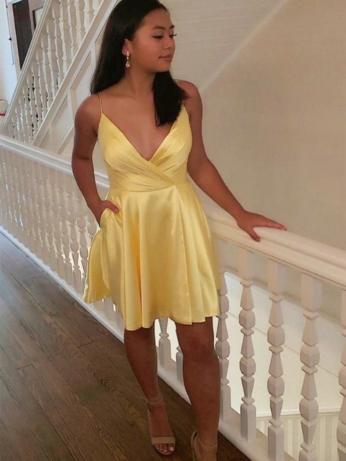 Cute V Neck Yellow Short Cocktail Dresses,V Neck Yellow Formal Graduation with