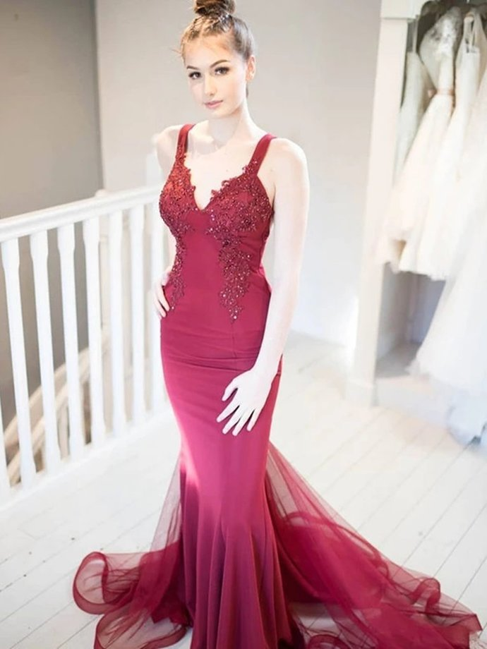 Copy of Simple A Line Backless Red Long Prom Dresses with Leg Slit,Sexy Women