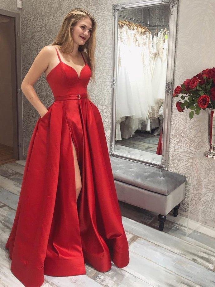 Elegant A Line Red Long Prom Dresses with High Slit,Adult Formal Graduation