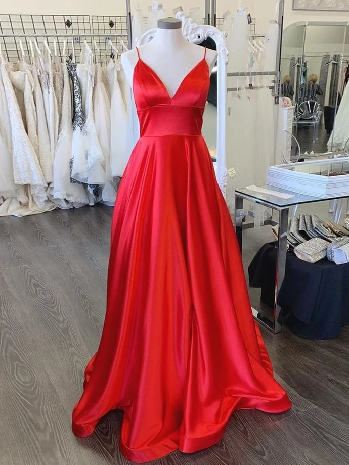 Simple A Line V Neck Backless Red Long Prom Dresses,Backless A Line Formal