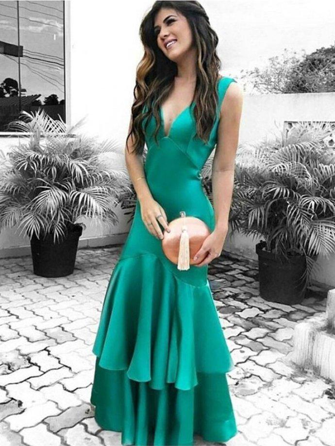 V Neck Mermaid Layered Green Satin Long Prom Dresses,Women Winter Formal