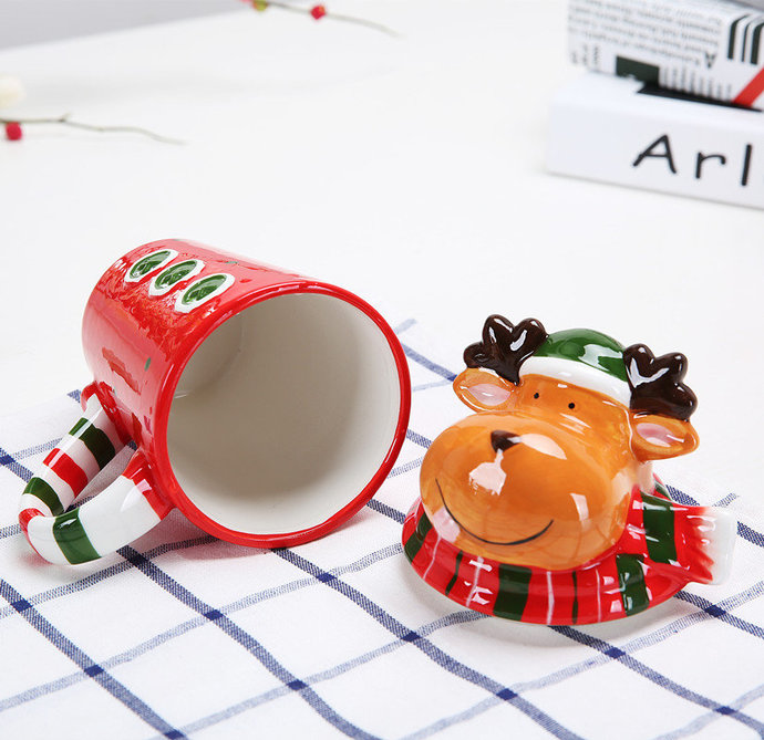 Christmas reindeer mug,pottery mug,handmade ceramic mug,Ready to ship,coffee mug
