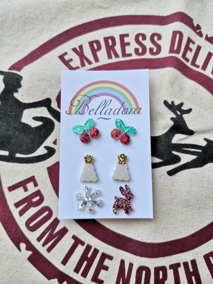 Stud Pack - Cherries, Trees and Reindeer/Snowflake
