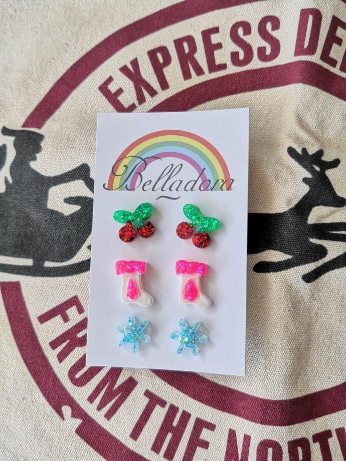 Stud Pack - Cherries, Stockings and Snowflakes