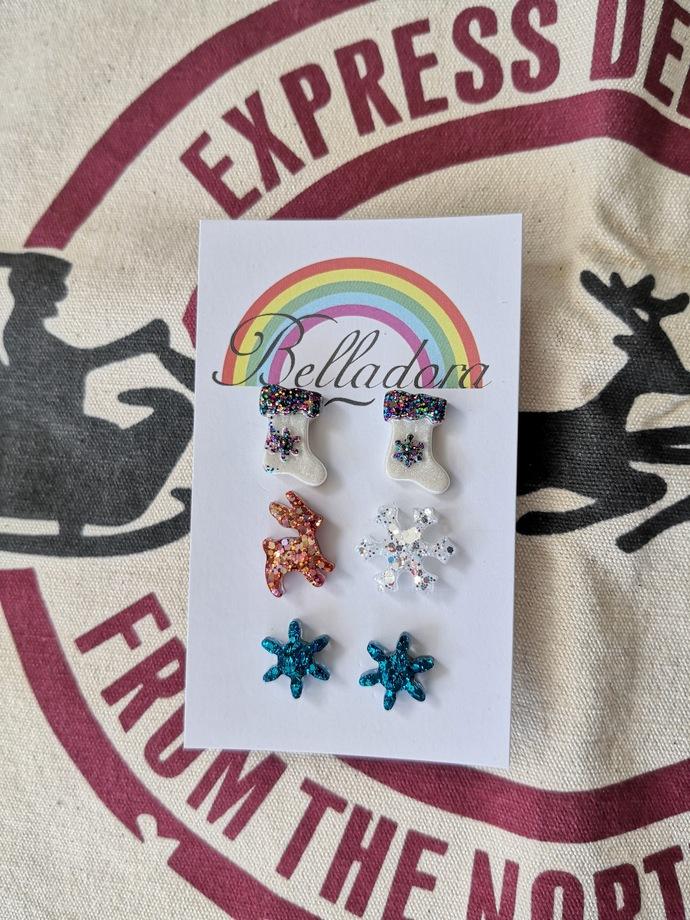 Stud Pack - Stockings, Reindeer/Snowflake and Snowflakes