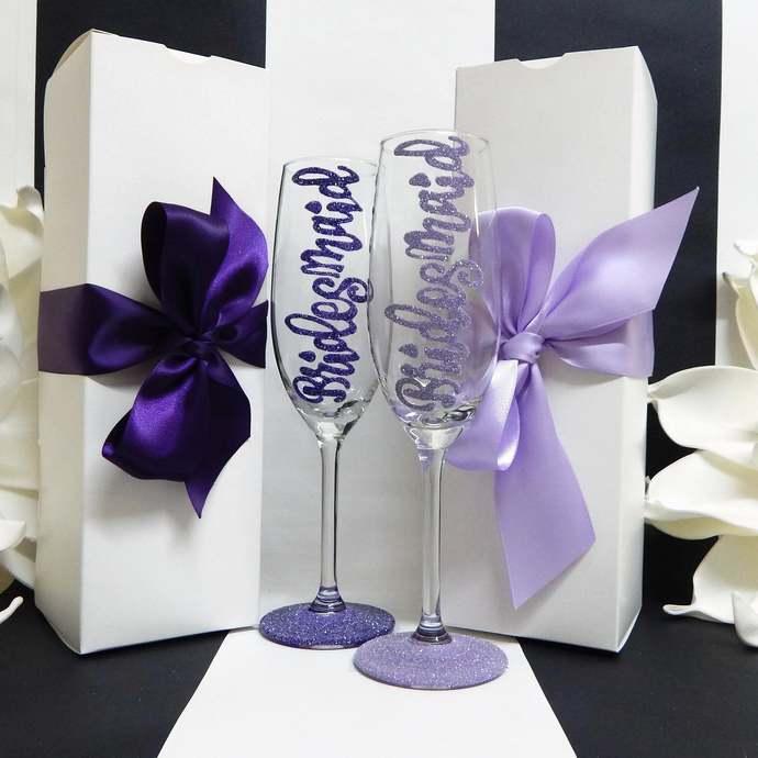 Bridesmaid Toasting Flute Set of 2   Purple Wedding Glass