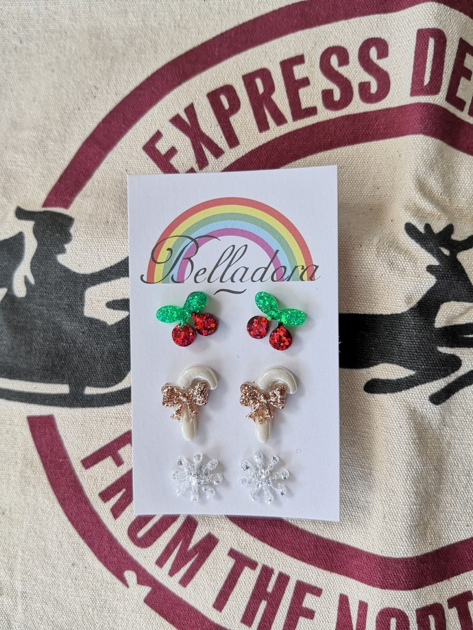 Stud Pack - Cherries, Candy Canes and Snowflakes
