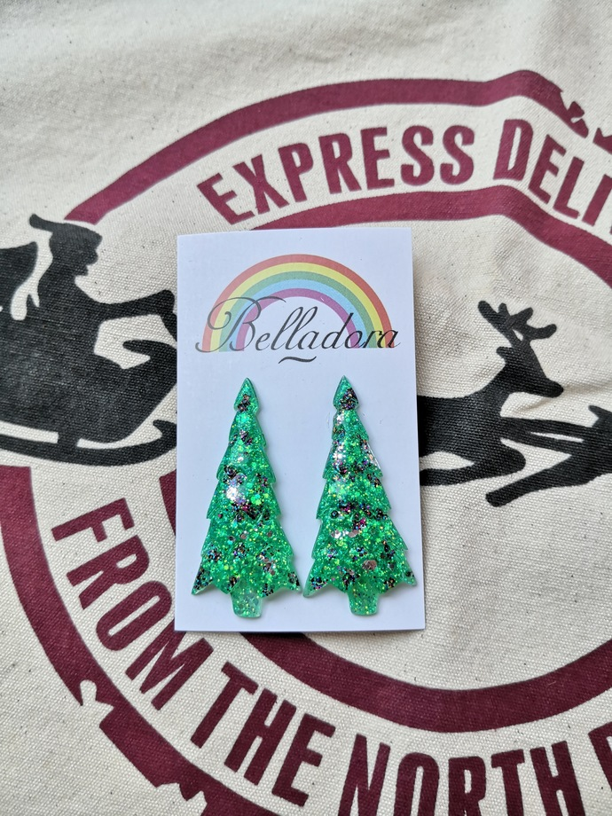 Green, Rainbow Christmas Trees