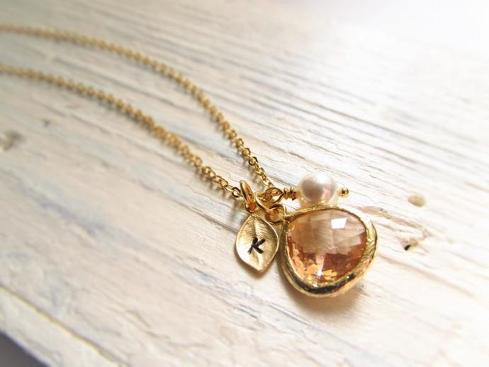 Gold Leaf with Initial Jewel and Birthstone Necklace