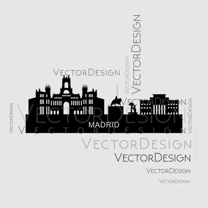 Madrid Skyline Town v2 Graphics SVG Dxf EPS Png Cdr Ai Pdf Vector Art Clipart