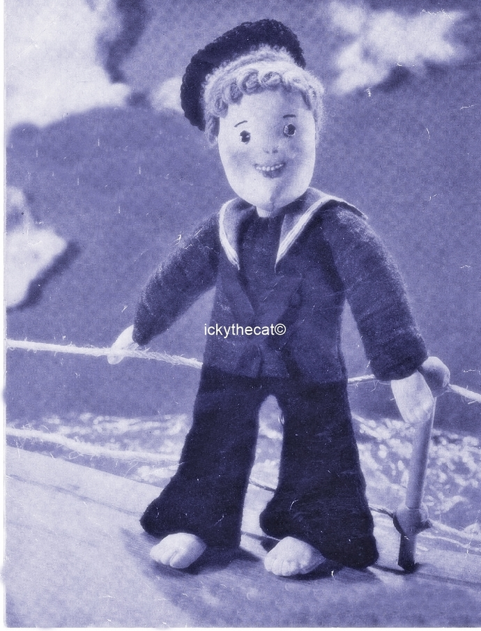 Instant PDF Digital Download Vintage Sewing Pattern Sailor Rag Doll & Clothes