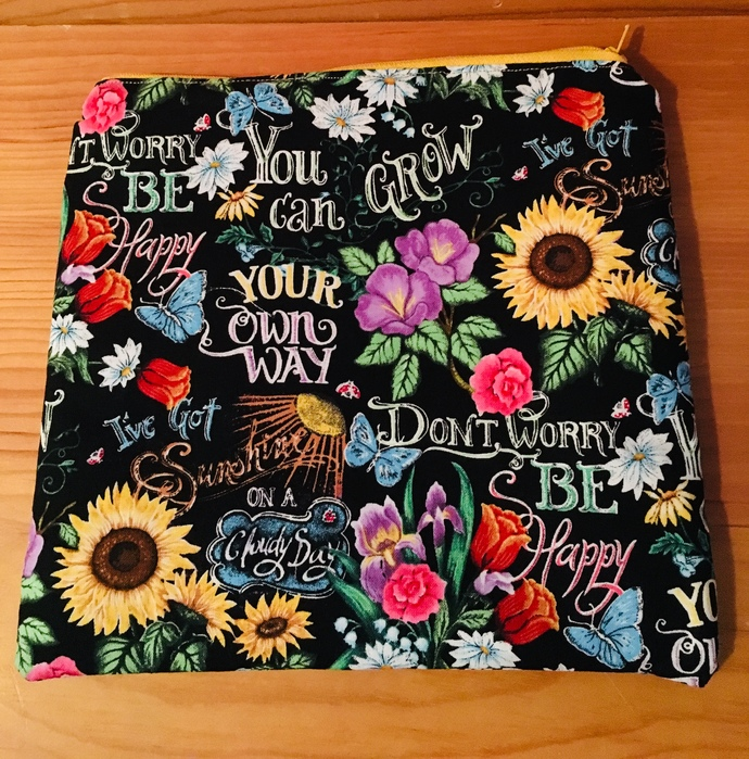 Flower and Song Titles Lined Makeup Bag ~ Zipper Pouch